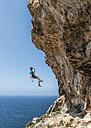 Malta, Ghar Lapsi, McCarthey's Cave, rock climber - ALRF000263