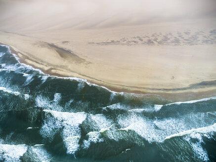 Namibia, Walvis Bay, Atlantic meets Namib Desert, aerial view - AMF004561