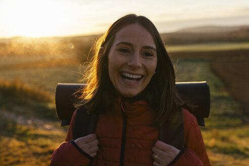 Spain, Catalunya, Girona, portrait of happy female hiker in the nature - EBSF001181