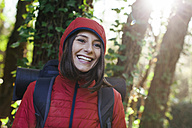 Spain, Catalunya, Girona, portrait of happy female hiker in the nature - EBSF001193
