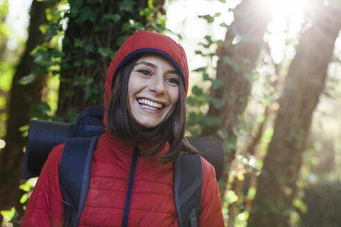 Spain, Catalunya, Girona, portrait of happy female hiker in the nature - EBSF001193