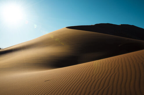 Namibia, Namib Desert, Sossusvlei, Dunes landscape at sunset - GEMF000550