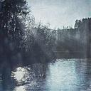 Germany, Remscheid, Eschbach Dam in winter in the morning, textured effect - DWIF000660