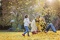 Playful family in autumnal park - HAPF000073