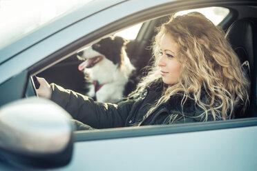 Woman driving car, dog sitting on passenger seat - OIPF000036