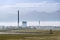 Austria, Riedersbach, gas power station and fog, City Salzburg in the fog - OPF000102