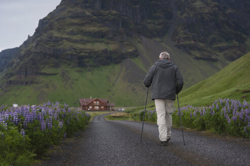 Iceland, Man walking on country road - PAF001518