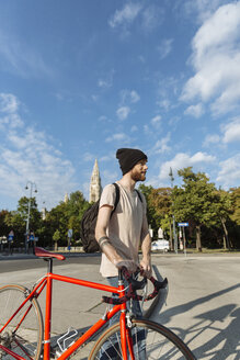Young man with racing cycle in Vienna - AIF000135