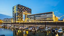 Germany, Cologne, Rheinauhafen, marina and Kranhaus at blue hour - WGF000816