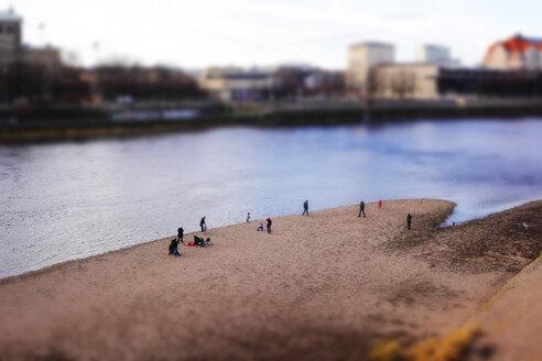 Germany, Saxony, Dresden, people at River Elbe, tilt-shift image - JT000723