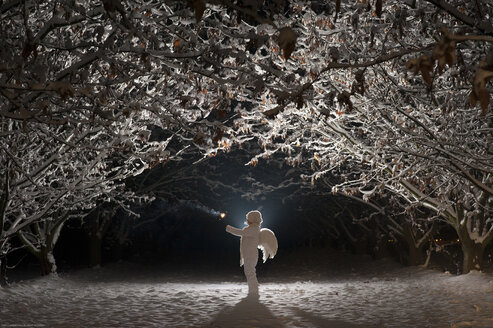 White dressed child with angel wings holding a light in cold winter's night - SIPF000001