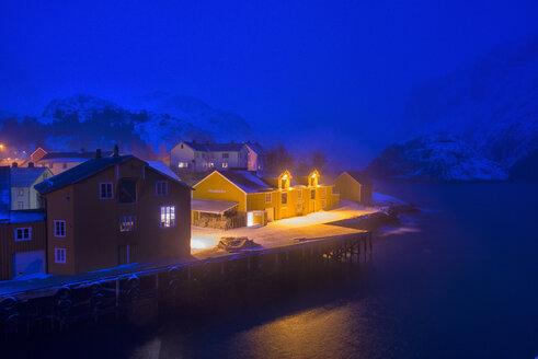 Norway, Lofoten, Nusfjord, Marina by night - LOMF000171