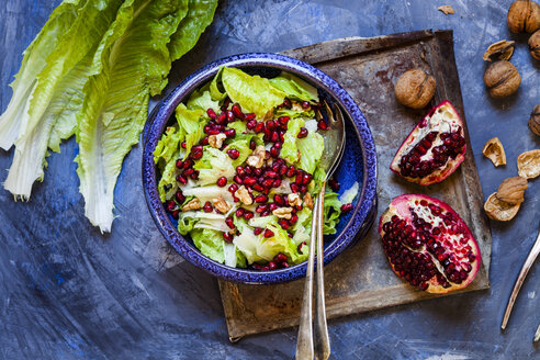 Bowl of Romaine lettuce with walnuts, pomegranate dressing and seed - SBDF002619