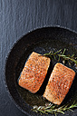 Two raw salmon fillets in a frying pan on slate - CSF026959