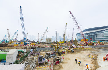 China, Hong Kong, Construction site in Central Hong Kong - HSI000390