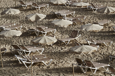 Spain, Canary Islands, Fuerteventura, Morro Jable, beach with sunshades and sun loungers - FMKF002230