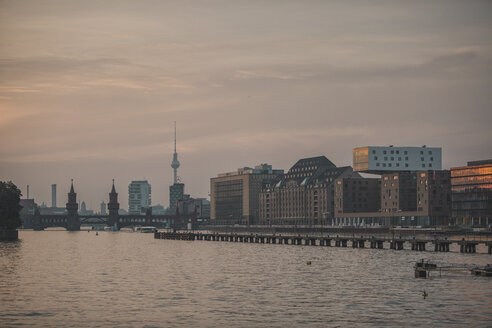 Germany, Berlin, cityscape with TV tower and Oberbaum bridge at Spree river - ASCF000446