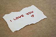 Sheet of paper with writing 'I Love You' - JPF000097