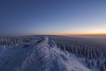 Germany, Saxony-Anhalt, Harz National Park, Wolfswarte in winter - PVCF000746