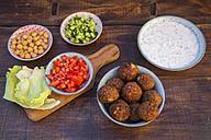 Preparation of falafel, vegetan falafel, ingredients in bowls - SARF002451