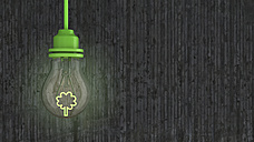 Lightbulb with green tree in front of concrete wall, 3d rendering - AHUF000082