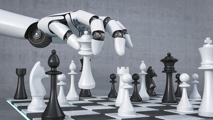 Robot hand playing chess, 3D Rendering - AHUF000094