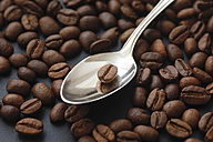 Silver spoon and roasted coffee beans - JTF000728