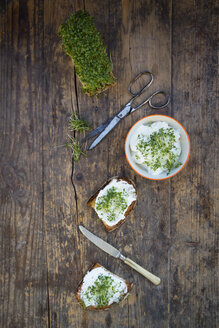 Slice of toasted  bread with organic curd and cress - LVF004443