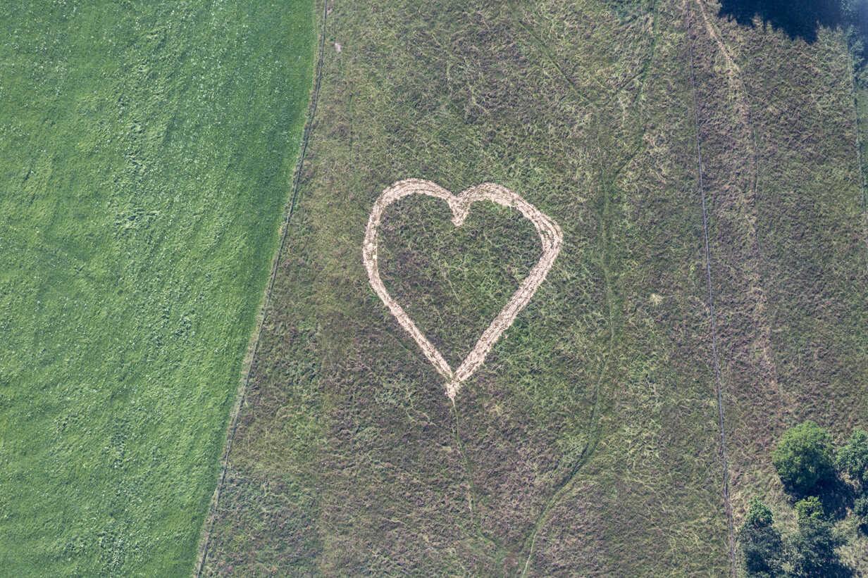 Aerial view of heart in meadow - KLEF000041 - Klaus Leidorf/Westend61