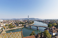 Switzerland, Basel, city and Rhine River as seen from Basel Minster - GWF004574