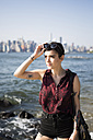 USA, New York City, Brooklyn, portrait of tattooed young woman - GIOF000683