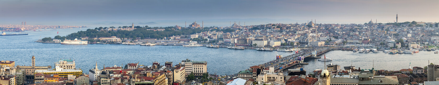 Turkey, Istanbul, cityscape of Eminonu Harbor, Galata Bridge and New Mosque - MDIF000033