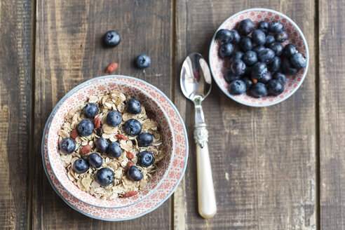 Bowl of blueberry muesli with wolfberries - SARF002477