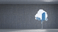 3D Rendering, Window in tree-shape, concrete wall, high-rise buildings - AHUF000096
