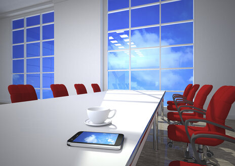 3D Illustration, cloud computing,  smartphone on conference table - ALF000674