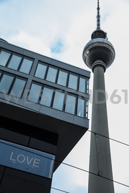 Germany, Berlin, view to television tower and building with the word 'Love' - NGF000242 - Nadine Ginzel/Westend61