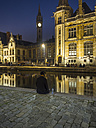 Belgium, Ghent, promenade at Graslei with historical houses at night - AM004721
