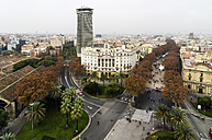 Spain, Barcelona, cityscape as seen from Columbus column with Ramblas - THAF001558