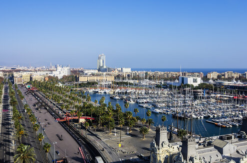 Spain, Barcelona, cityscape as seen from Columbus column with marina - THAF001570