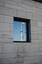 Germany, Berlin, Berlin TV Tower mirrored in window - ZMF000453