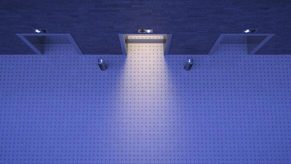 Lifts, blue lighting mood, open door, different directions - UWF000761