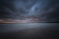 Scotland, East Lothian, North Berwick,Bass Rock, long exposure, storm, surf at sunset - SMAF000417