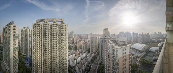 China, Shanghai, Panoramic view from a balcony in a residential area - NKF000450