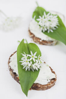 Slice of bread with cream cheese and fresh ramson, eatable blossom - GWF004598