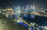Singapore, Skyline of Singapore from Marina Bay Sands Hotel at night - STC000156