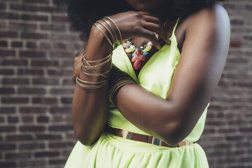 Woman wearing bracelets, close-up - JUBF000092