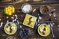 Bowls of mango smoothie with diced mango, coconut flakes, blueberries and choco crunch - SARF002522