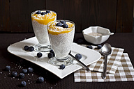 Two glasses of chia pudding with mango banana mush, blueberries and coconut flakes - YFF000526