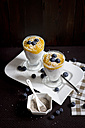Two glasses of chia pudding with mango banana mush, blueberries and coconut flakes - YFF000529