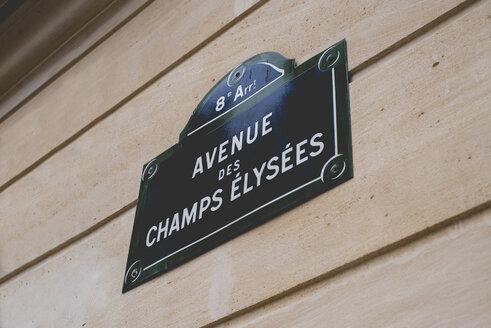 France, Paris, sign with street name Avenue des Champs Elysees - KIJF000144